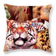 Animal Collage, Digital Art Throw Pillow