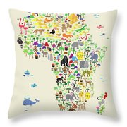 Animal Map Of Africa For Children And Kids Throw Pillow