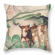 Animals In A Landscape Throw Pillow