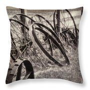 Antique Wagon Wheels I Throw Pillow