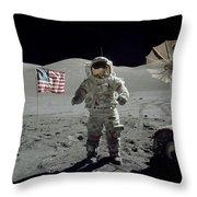 Apollo 17 Astronaut Stands Throw Pillow