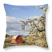 Apple Blossom Trees And A Red Barn In Throw Pillow