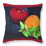 Apple, Orange And Red Basil Throw Pillow