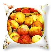 Apples In Wooden Baskets, Still Life Throw Pillow