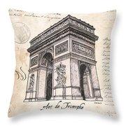 Arc De Triomphe Throw Pillow by Debbie DeWitt