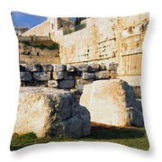 Archaeological Garden Southern Temple Mount Throw Pillow