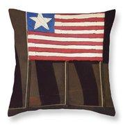 Art Homage Jasper Johns Flag Window Silver Dollar Bar Eloy Arizona 2004 Throw Pillow