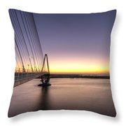 Arthur Ravenel Jr Bridge Sunrise Throw Pillow