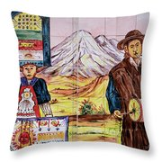 Artisan Market In Quito Throw Pillow