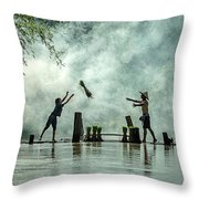 Asian Farmers Earn Rice Fields Throw Pillow