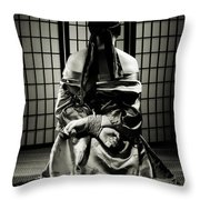 Asian Woman With Her Hands Tied Behind Her Back Throw Pillow