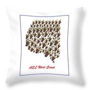 Asl West Coast Map Throw Pillow