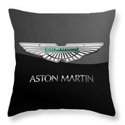 Aston Martin 3 D Badge On Black  Throw Pillow