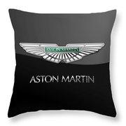 Aston Martin 3 D Badge On Black  Throw Pillow