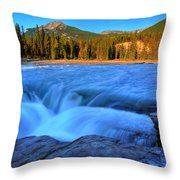 Athabasca Falls In Jasper National Park Throw Pillow