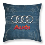 Audi 3 D Badge Over 2016 Audi R 8 Blueprint Throw Pillow by Serge Averbukh