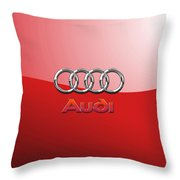 Audi - 3d Badge On Red Throw Pillow