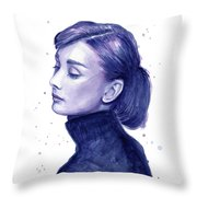 Audrey Hepburn Portrait Throw Pillow by Olga Shvartsur