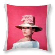 Audtrey Hepburn Breakfast Tiffany's Throw Pillow