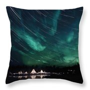 Aurora And Star Trails Throw Pillow