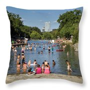 Austinites Love To Lounge In The Refreshing Waters Of Barton Springs Pool To Beat The Sizzling Texas Summer Heat Throw Pillow