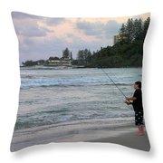 Australia - Fisherman At Greenmount Beach Throw Pillow