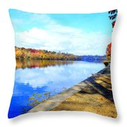 Autumn Afternoon On The Schuykill River Throw Pillow