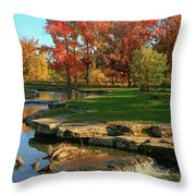 Autumn At The Deer Lake Creek Riffles In Forest Park St Louis Missouri Throw Pillow