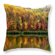 Autumn Big Ditch Lake Throw Pillow