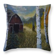 Autumn Red Barn  Throw Pillow