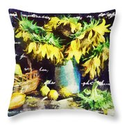 Autumn Sunflowers Throw Pillow