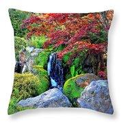 Autumn Waterfall - Digital Art 5x3 Throw Pillow