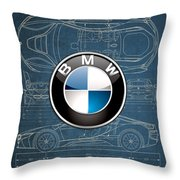 B M W 3 D Badge Over B M W I8 Blueprint  Throw Pillow