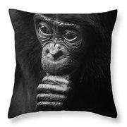 Baby Bonobo Portrait Throw Pillow