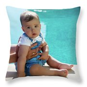Baby Boy Sitting By The Pool Throw Pillow