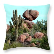 Balancing Act In The Arizona Desert 2 Throw Pillow