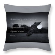 Bald Eagle In Flight With Bible Verse Throw Pillow