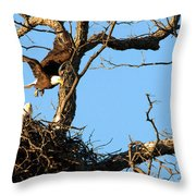 Bald Eagle Leaving The Nest Throw Pillow