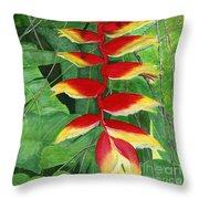 Balinese Heliconia Rostrata Throw Pillow