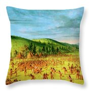 Ball-play Of The Choctaw--ball Up Throw Pillow