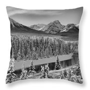Banff Bow River Black And White Throw Pillow