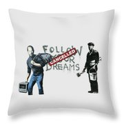 Banksy - The Tribute - Follow Your Dreams - Steve Jobs Throw Pillow by Serge Averbukh