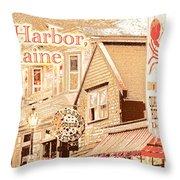 Bar Harbor Maine Shops At Night Throw Pillow