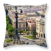 Barcelona With Tree-lined Las Ramblas Throw Pillow