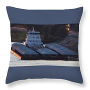 Barge On Mississippi River Throw Pillow