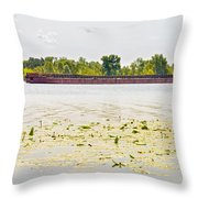 Barge On The Dnieper River Throw Pillow