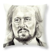 Barry Gibb Portrait Throw Pillow