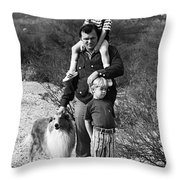 Barry Sadler With Sons And Family Collie Tucson Arizona 1971 Throw Pillow
