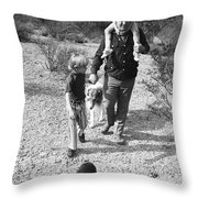 Barry Sadler With Sons Baron And Thor Taking A Stroll 1 Tucson Arizona 1971 Throw Pillow