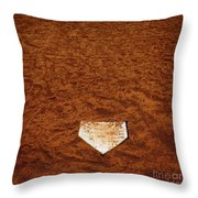 Baseball Homeplate In Brown Dirt For Sports American Past Time Throw Pillow